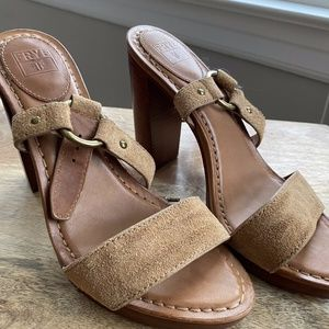 Frye Camel LeatherSuede Clunky OpenToed Sandal 7.5